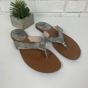 Vince Camuto silver thong sandals